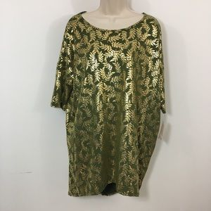New Lularoe Irma elegant Green gold Metallic top L